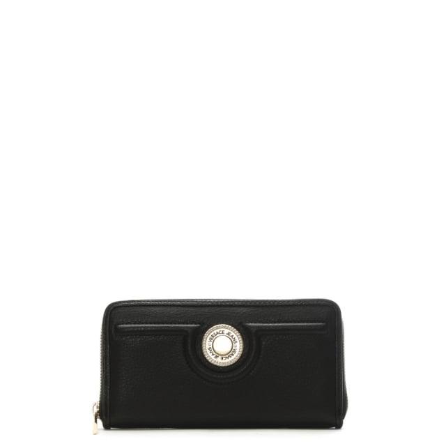 Versace Jeans Peach Black Zip Around Wallet