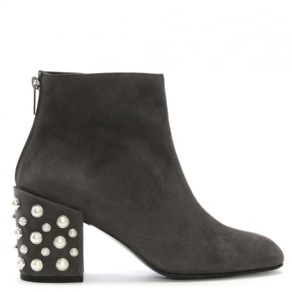 Pearbacari Grey Suede Ankle Boots