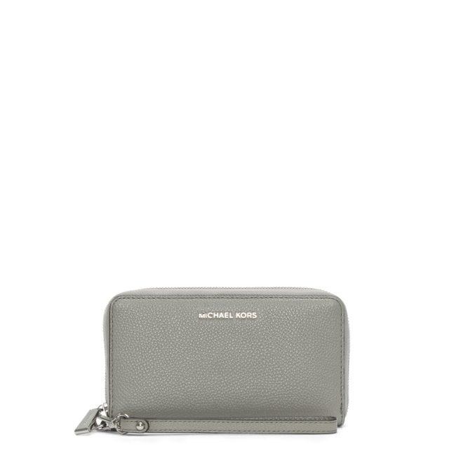083390c530ec Michael Kors Pearl Grey Leather Wristlet Smartphone Case Wallet