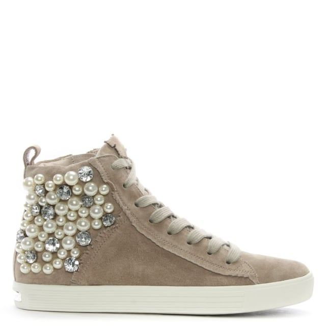 Pearl Grey Suede High Top Trainers