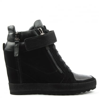 Pearla Black Suede Glitter High Top Wedge