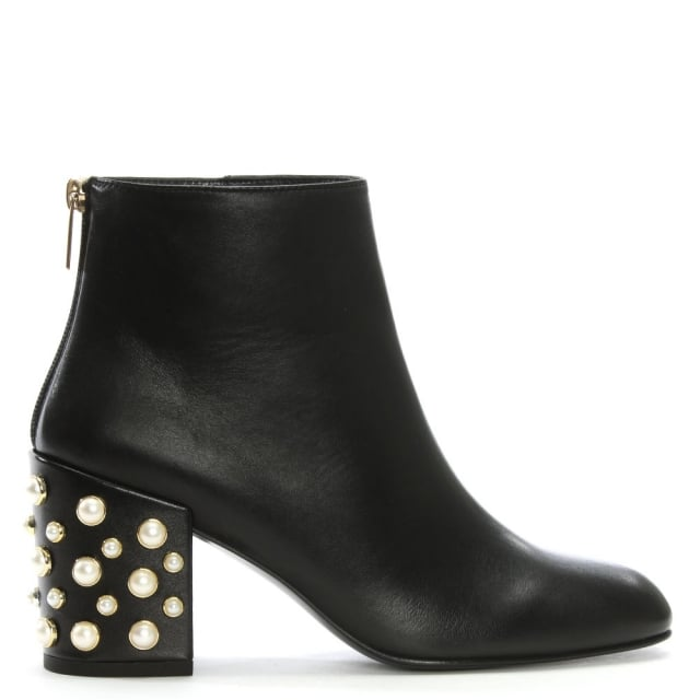 Stuart Weitzman Pearlbacari Black Leather Ankle Boots