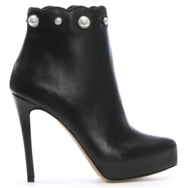 Pearlized Black Leather Platform Ankle Boots
