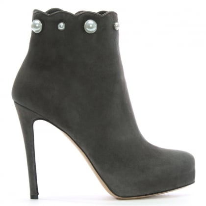 Pearlized Grey Suede Platform Ankle Boots