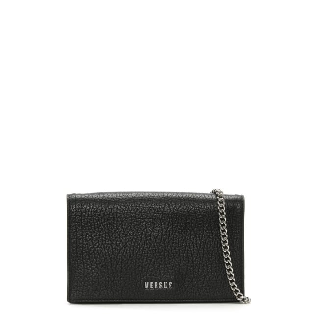 Pebbled Black Leather Wallet With Chain