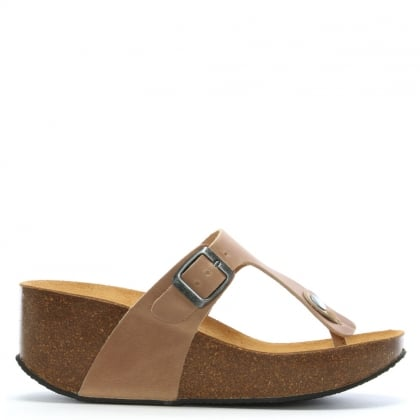 Peccavi Taupe Leather Toe Post Wedge Sandals