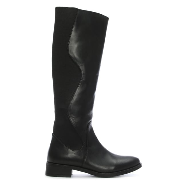 Peelaw Black Leather Stretch Back Knee Boots
