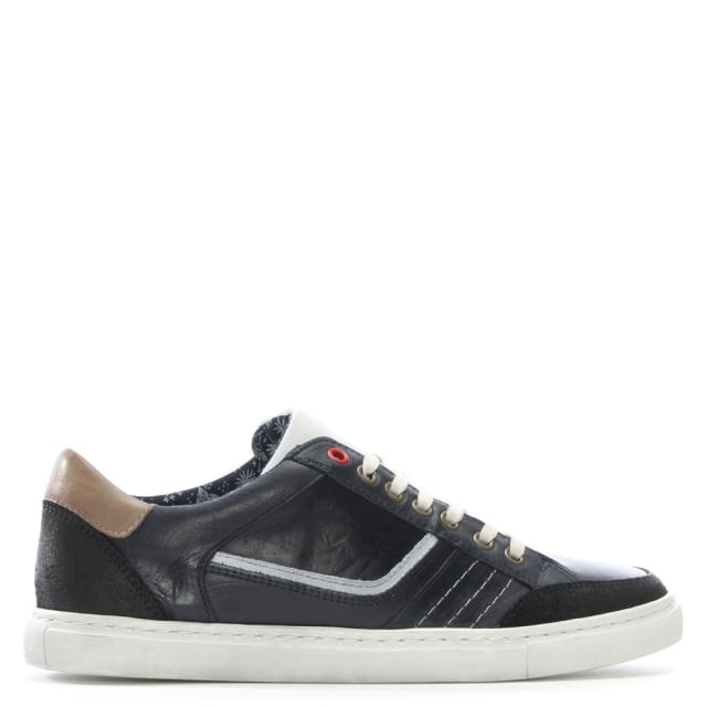 Penalta Navy Leather Lace Up Trainer