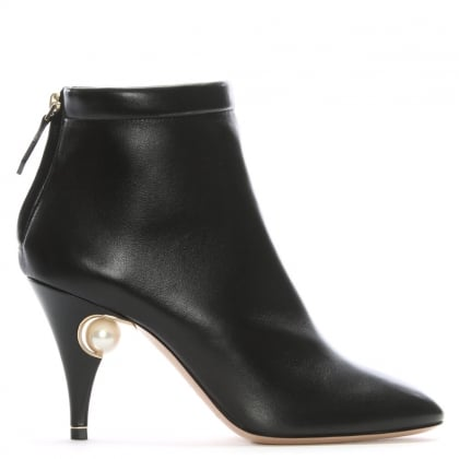Penelope 85 Pearl Black Leather Ankle Boots