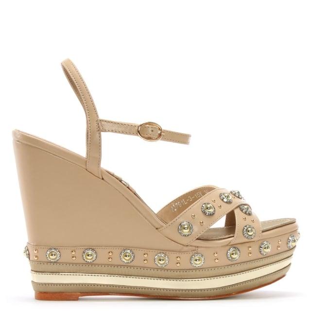 Daniel Pentra Beige Leather Embellished Wedge Sandals