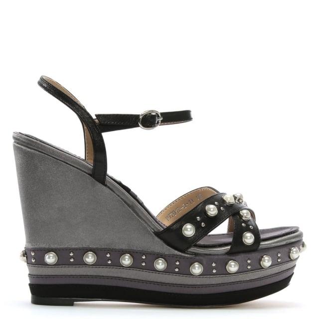 Daniel Pentra Black Leather Embellished Wedge Sandals