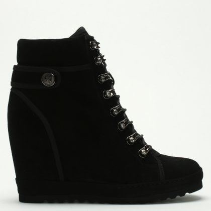 6364e35fbac98a Pepler Black Suede Wedge High Top Trainers