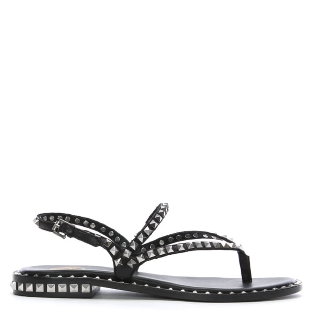 Peps Black Leather Studded Sandals