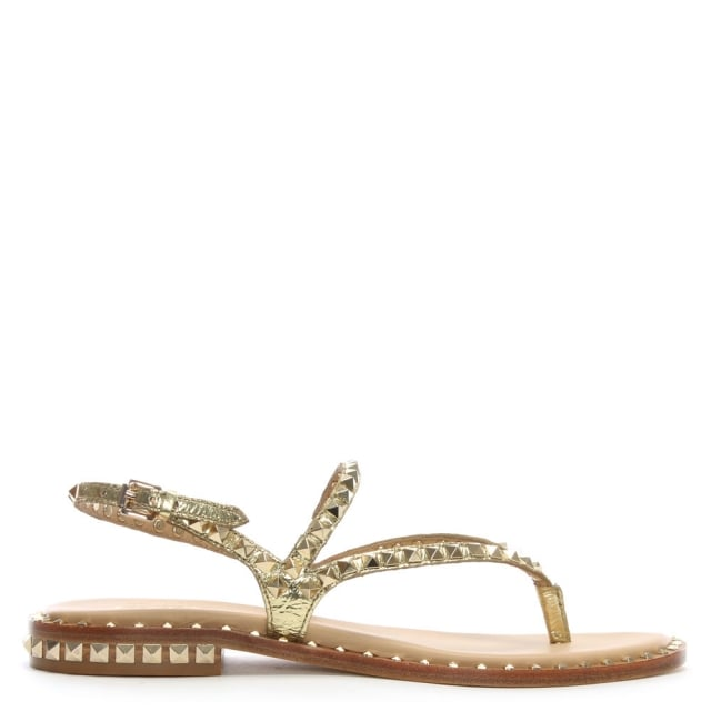 Peps Gold Leather Studded Sandals