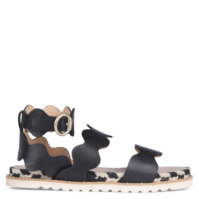 Kanna Peregrine Black Leather Scalloped Gladiator Sandals
