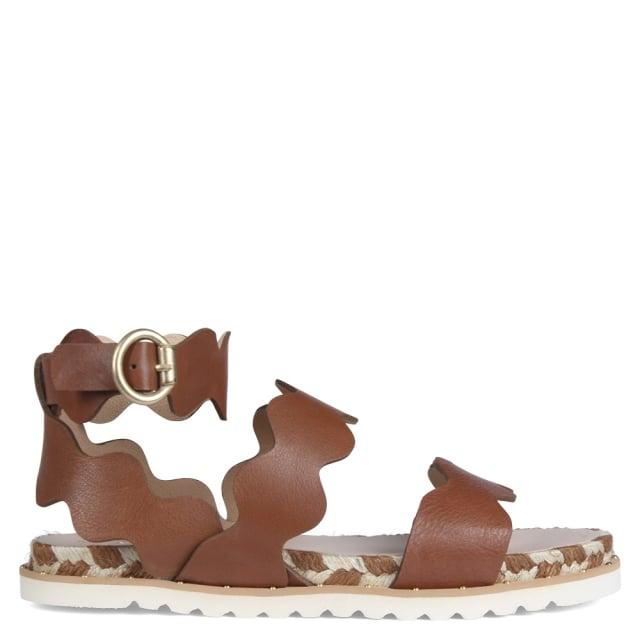 Kanna Peregrine Tan Leather Scalloped Gladiator Sandals