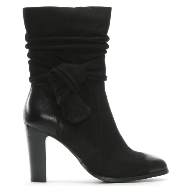 Peretta Black Leather Knotted Bow Calf Boots
