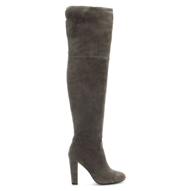 Perfect Grey Suede Over The Knee Boot