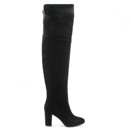 Perfectly Low Black Suede Over Knee Boot