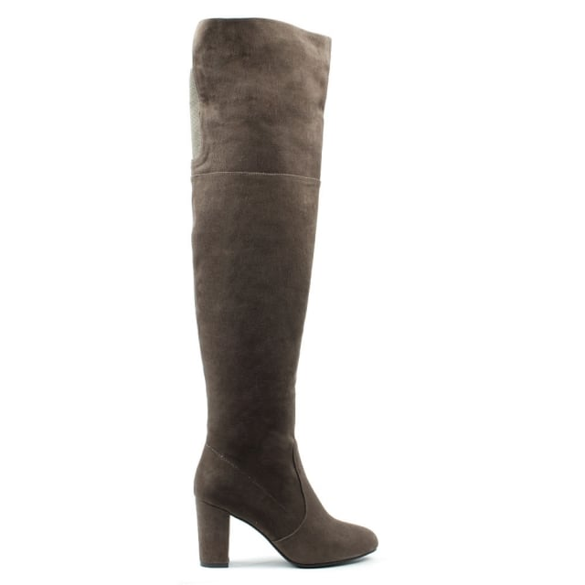 Perfectly Low Taupe Suede Over Knee Boot