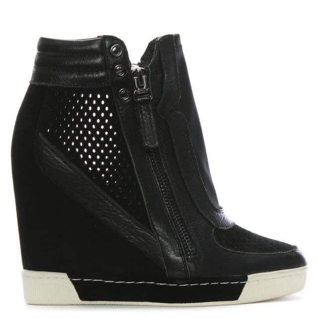 Perfo Black Suede & Leather Concealed Wedge Trainer