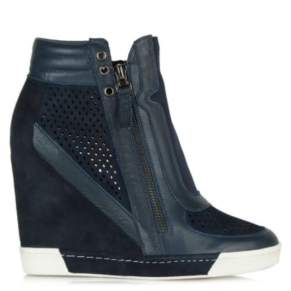 Perfo Navy Suede & Leather Concealed Wedge Trainer