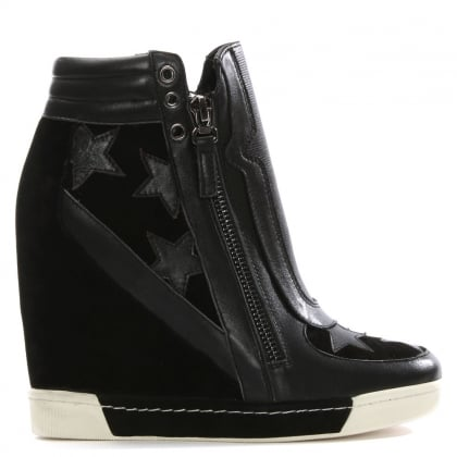 Daniel Perfo Star Black Suede & Leather Concealed Wedge Trainer