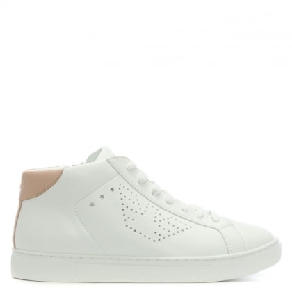 Perforated Logo White Leather High Top Trainers