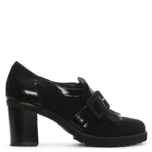 Luca Grossi Peruse Black Suede & Leather Fringe Block Heel Shoe