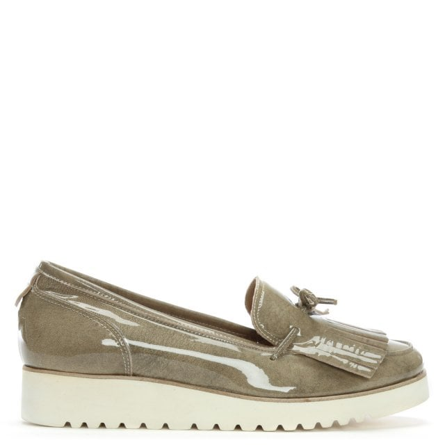 Peshawar Taupe Patent Leather Fringed Loafers