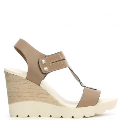 Peterlee Taupe Leather High Wedge Sandal