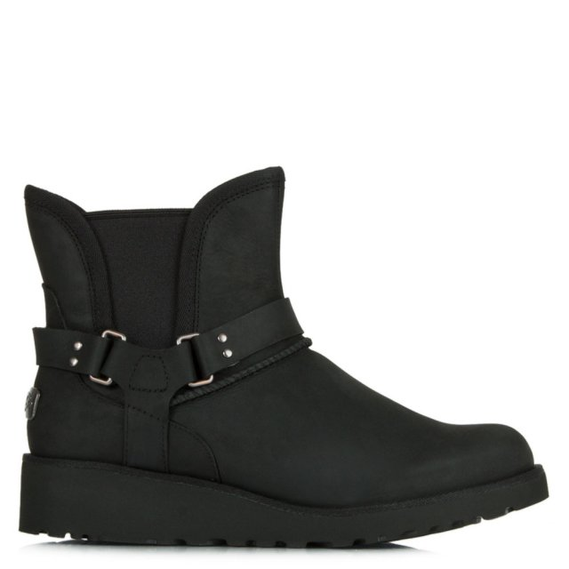 Petra Black Leather Water Resistant Fixed Strap Ankle Boot