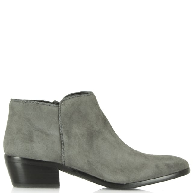 175a11159788c Sam Edelman Petty Grey Suede Low Heel Ankle Boot