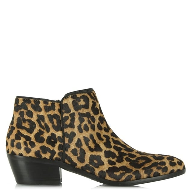 9410434600dc74 Sam Edelman Petty Leopard Calf Hair Low Heel Ankle Boot