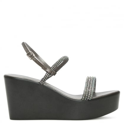Rapisardi Pewter Beaded Embellished Wedge Sandal