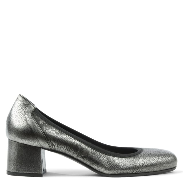 Pewter Leather Round Toe Court Shoe