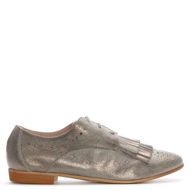 Pewter Metallic Leather Fringed Day Shoes