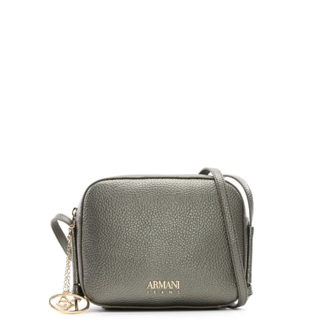 Armani Jeans Pewter Pebbled Cross-Body Bag