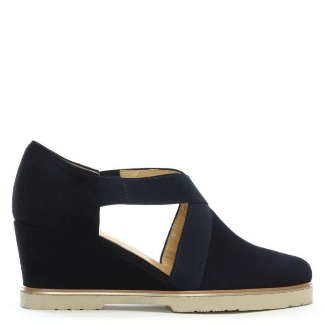 Phantis Navy Suede Open Sides Wedge Shoes