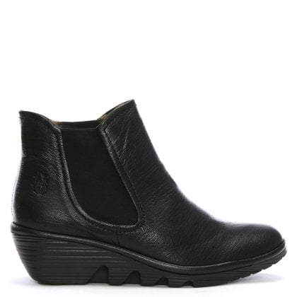 ee8492a8ff6 Fly London Phil Black Leather Wedge Chelsea Boots