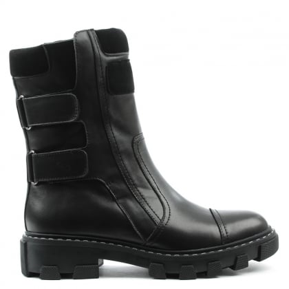 Phoebe Black Leather Flat Biker Boot