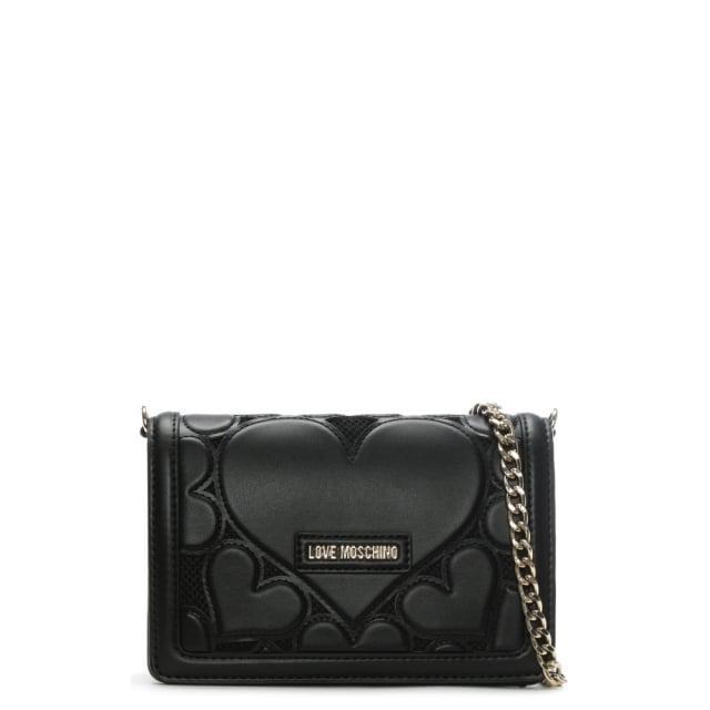 Love Moschino Phoebe Black Mini Heart Cross-Body Bag