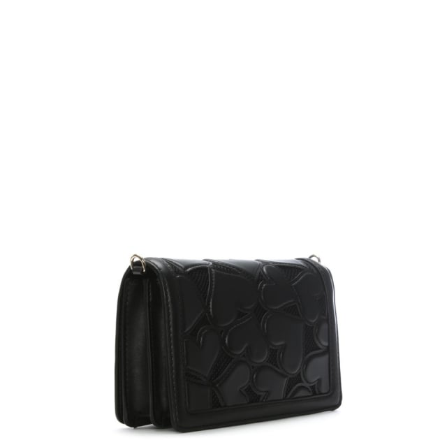 b1e41794411 Love Moschino Phoebe Black Mini Heart Cross-Body Bag