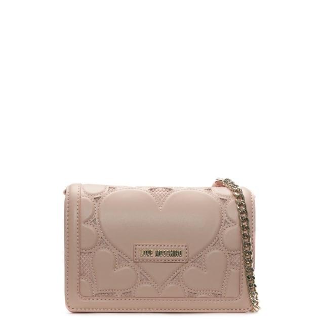 Love Moschino Phoebe Pink Mini Heart Cross-Body Bag