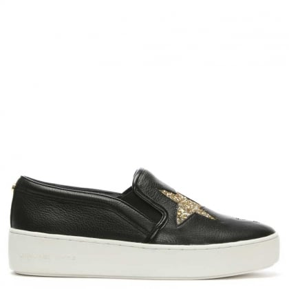 Pia Star Black Leather Slip On Trainer