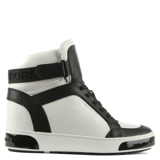 Pia White Leather Two Tone High Top Trainer