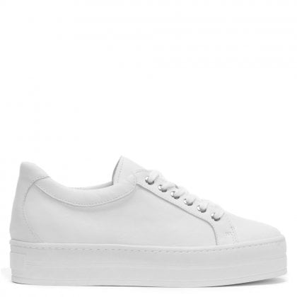 Piccadilly Circus White Leather Platform Trainer