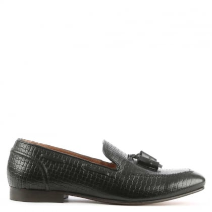 Hudson Pierre II Black Leather Woven Tassel Loafer