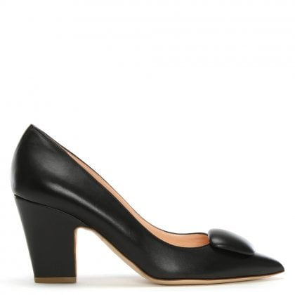 Pierrot Black Leather Court Shoes