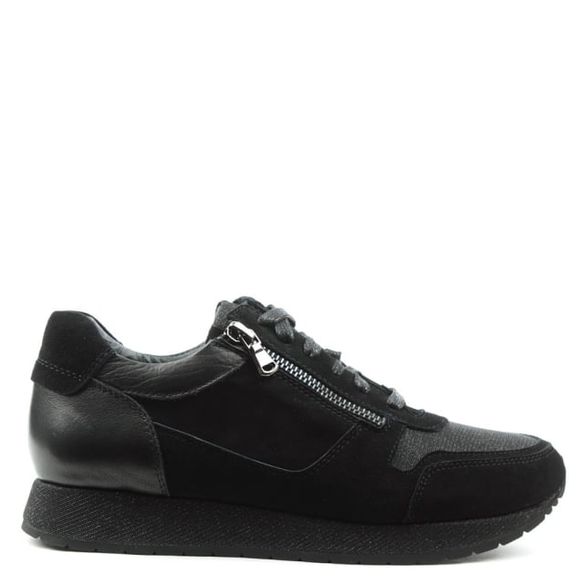 Pilar Black Suede Double Zip Glitter Trainer